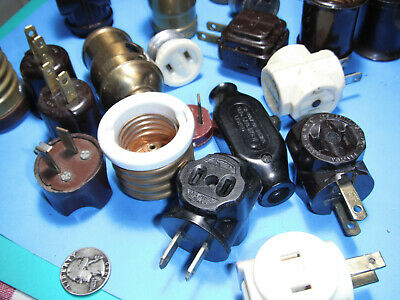 Electrical Parts lot of 21 Bakelite Adapters, Sockets, Switches Plugs old brass.