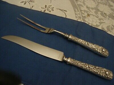 S Kirk & Son Repoussé Sterling Antique Ornate Steak  Carving Set Knife Fork