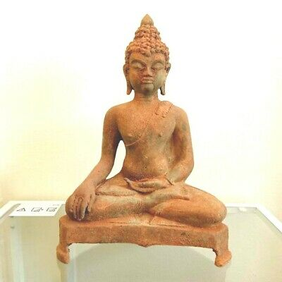 "14 "" Antique Thai Chang Rung Buddha Bronze Belly Figure Good Collect RARE !!"