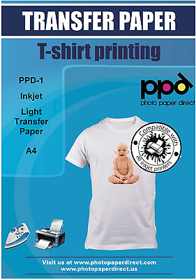 PPD Inkjet T Shirt Transfer Paper A4 for Light and White Fabric x 40 Sheets