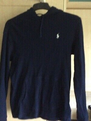 Men's navy cotton Polo Ralph Lauren ribbed top with hood. Size small. Immaculate