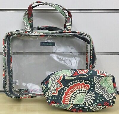 Vera Bradley Clear Cosmetic Organizer and Cosmetic Bag in Nomadic Floral