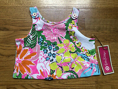 Lilly Pulitzer Target Crop Top Nosey Pose Sleeveless Floral Girls Size 6 NWT