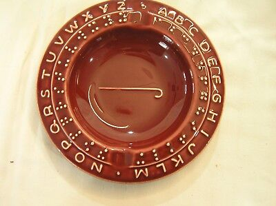 *Vintage BRAILLE Alphabet Ashtray Ceramic Dark Red PRETTY!