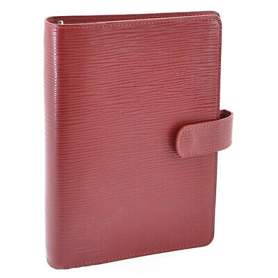 LOUIS VUITTON Epi Agenda MM Day Planner Cover Ruby Red R2004M LV Auth 12359