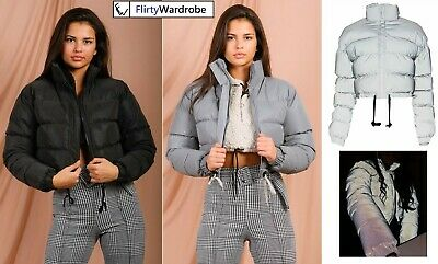 Womens Reflective Cropped Jacket Hi Visibility Thick Puffer Padded Quilted Coat
