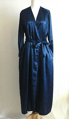 Jones New York Maxi Robe Blue Poly Satin Belted Pockets Long Sleeve Size S/M