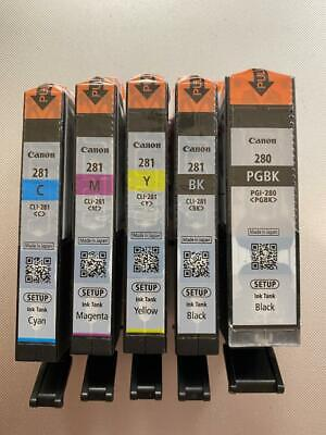 Genuine Canon 280 281 Ink Cartridges 5-Pack Full Set for TS6120 TS6220 & more