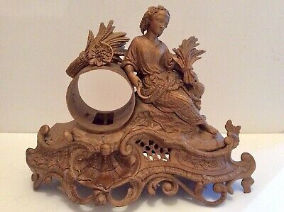 Late 19th C. French figural moulded mantle clock case in gilt finish