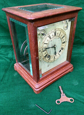 Antique H LEE & SONS 5 Glass & Chime Mahogany Library Bracket Clock & Key c1840s