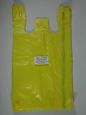 "500 Qty. Yellow Plastic T-Shirt Retail Shopping Bags w/ Handles 11.5"" x 6"" x 21"""