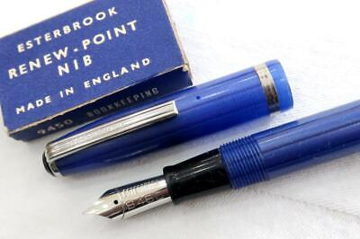 New Old Stock, Esterbrook J Series Fountain Pen, Blue/Black With Spare Nib 9450