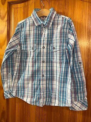 Fat Face  Boys Shirts Checked Blue Long Sleeved Age 8-9 Years
