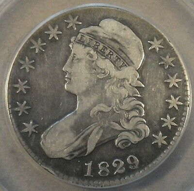 1829/7 Capped Bust Half Dollar 50c O-102 ANACS Certified VF25 Cleaned(Not Bad)