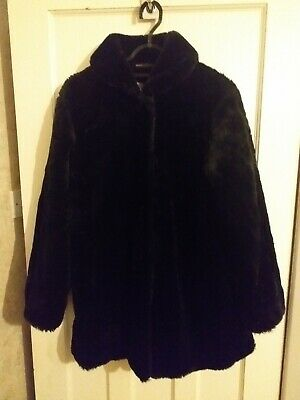 Marks and Spencer Girls Black Faux Fur Coat Age 15 - 16 Years VGC