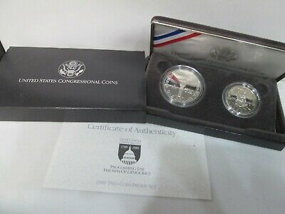 1989 US Congressional Proof 2 Coin Commemorative Set