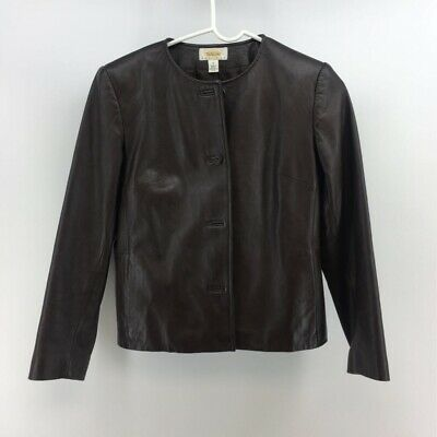 Talbots Womens Jacket Coat Black Button Up Crew Neck Leather Lined Petites 2