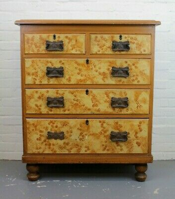 Antique Victorian Scumbled Pine Five Drawer Chest of Drawers ~ Bedroom Suite