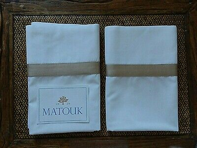 Matouk  Lowell 2) Standard Pillowcases ~ White / Champ. Egyptian Cotton Percale