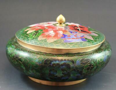 Antique Chinese Cloisonne & Enamel Round Covered Box w/ Peony Flowers