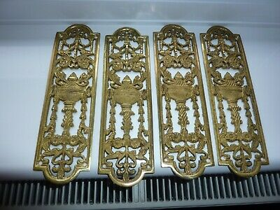 4 VERY OLD Vintage Brass Pierced Finger Plate's Push DOOR PLATE ( Urn Flowers )