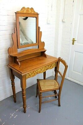 Antique Victorian Scumbled Pine Dressing Table & Cane Chair ~ Bedroom Suite