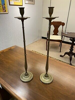 Fine Pair Of Tall Bronzed Arts And Crafts Candle Sticks