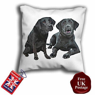 Young Chocolate Labrador Dog Cushion Cover 16x16 inch 40cm Orange Rose in Mouth