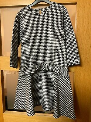 Girls Dogtooth Black & White Dress 9 Years  BNWT