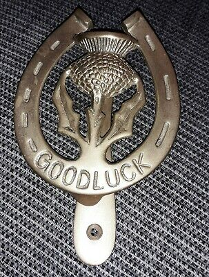 Door Knocker Thistle Good Luck Horse Shoe In Brass - Scotland / House