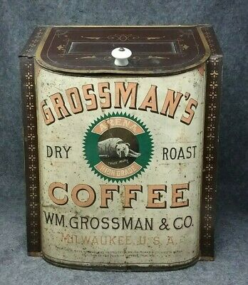 W.M. GROSSMAN'S Large ARENA High Grade Coffee STORE Tin BIN Milwaukee WI BOXER