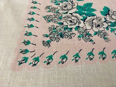 """Vintage 1950s Cotton Print Pink Floral TABLECLOTH Gray Turquoise Floral 50x48"""""""
