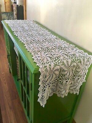 "100% Cotton Handmade Crochet 15x52"" Table Runner Vintage Piano Scarf Pinwheel"