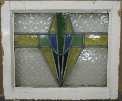 "OLD ENGLISH LEADED STAINED GLASS WINDOW Stunning Geometric 20.75"" x 17.75"""