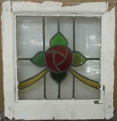 "OLD ENGLISH LEADED STAINED GLASS WINDOW Gorgeous Mackintosh Rose 15.5"" x 16.25"""
