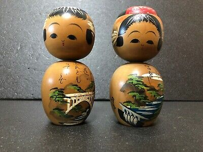 Vintage Japanese Kokeshi Pair Doll 5.91 inches Antique Wooden Doll Cute