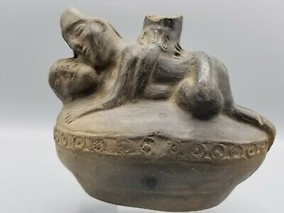 Ancient Pre-Columbian Terracotta Chimu Erotic Chimney Vessel Intact 900-1200Ad