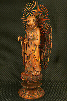 unique chinese old boxwood hand carved buddha statue figure