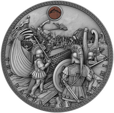 BATTLE OF SALAMIS Sea Battles High Relief with Oak insert 2 Oz Silver Coin Niue