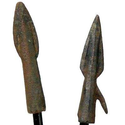 2 Ancient Bronze Arrow Points Lethal! temp. Alexander the Great,Trojan-Greek War
