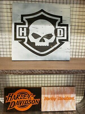 (3) Harley Davidson Wooden Wall Art Signs Home Decor Motorcycle Wood Signs