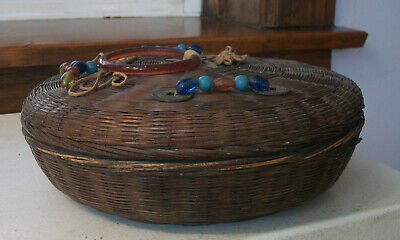 Chinese Wicker Sewing Basket with Coins and Beads Excellent Condition