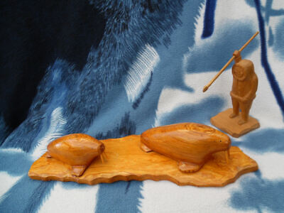 Antique Alaskan Hand Carved Wood Walrus Pair Sculpture, Signed