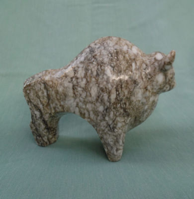 Vintage Bison Buffalo Fetish Hand Carved Marble Stone Sculpture