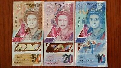 EAST CARIBBEAN STATES $50 $20 & $10 2019 P New x 3 UNC Polymer Banknote Set