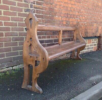 Antique Pitch Pine Gothic Style Chapel Bench