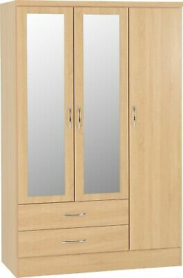 Nevada Sonoma Oak Effect 3 Door 2 Drawer Mirrored Wardrobe