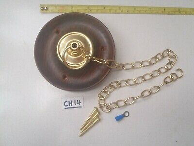 A WOOD AND POLISHED BRASS CEILING HOOK/CHANDELIERS/LIGHTING (CH 14) 11 cm Dia