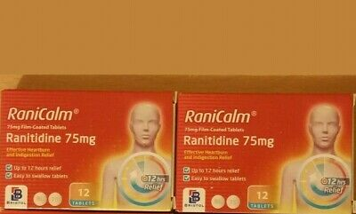 2x Boxes RaniCalm Ranitidine 75mg x 12Tablets - NOT RECALLED 24 TABLETS FOR SALE
