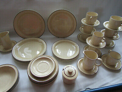 poole pottery parkstone oatmeal speckled large dinner & tea service. 50 pieces.